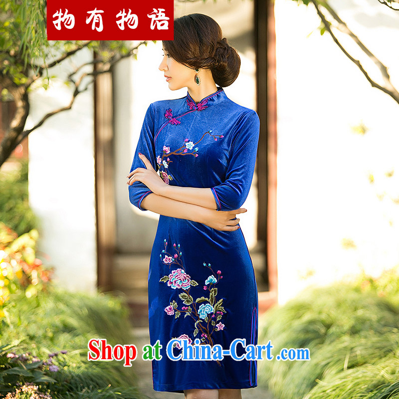 A Chinese Spring 2015 new embroidered velvet cuff in cheongsam stylish improved short-day qipao dress royal blue XXL