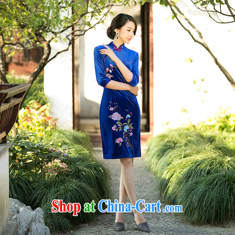 A Chinese Spring 2015 new embroidered velvet cuff in cheongsam stylish improved short-day dresses skirt royal blue XXL, property, language (wuyouwuyu), shopping on the Internet