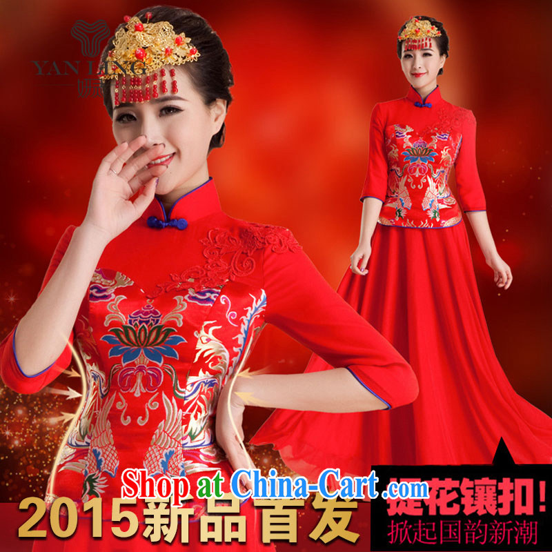 2015 wedding dresses new wedding dresses retro improved toast in serving long-sleeved bridal long summer QP 84 red XXL