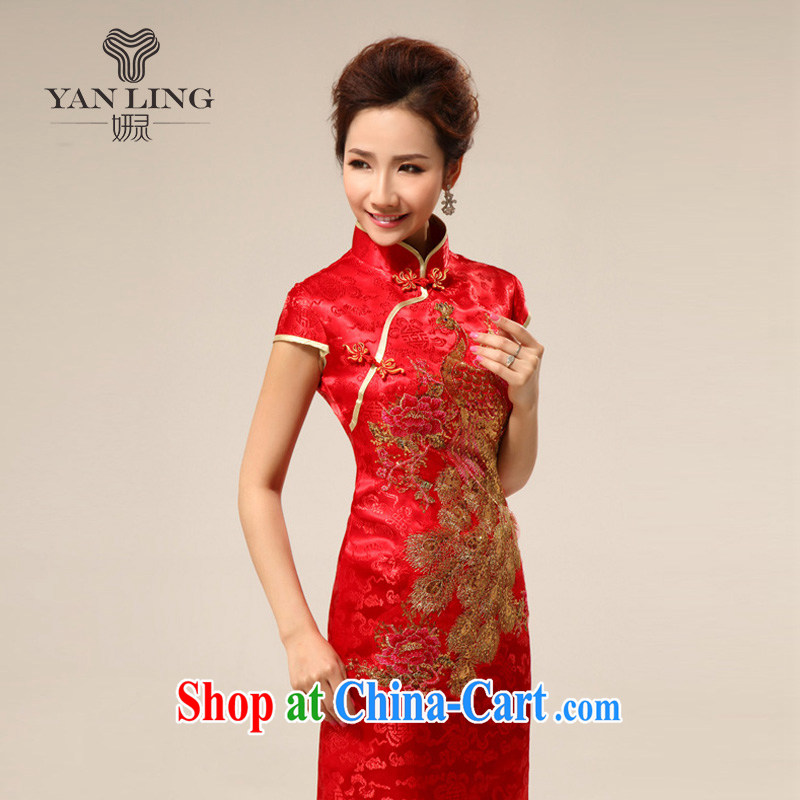 Retro short cheongsam dress summer dresses improved retro wedding toast serving Phoenix cheongsam 73 red XXL, her spirit, and, shopping on the Internet