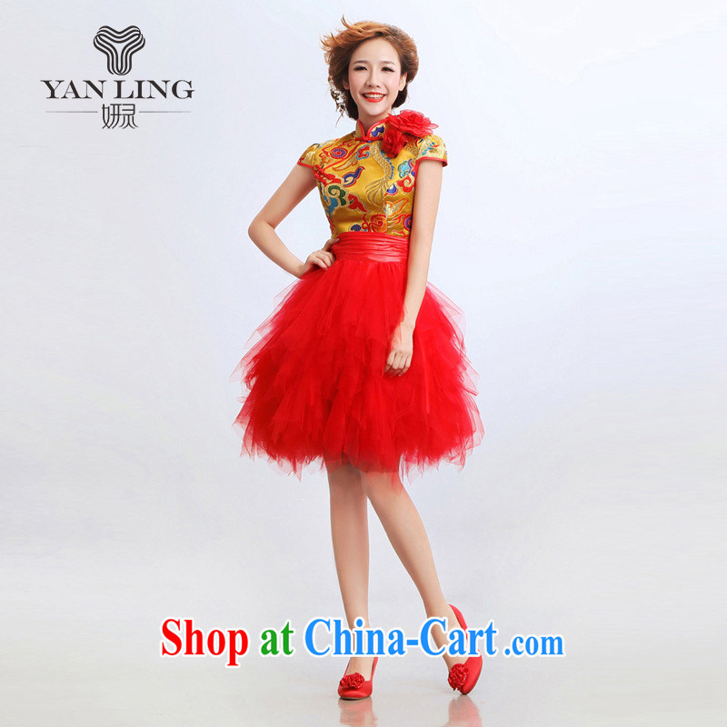2015 new stylish improved cheongsam dress short marriages wedding dresses show clothes dresses QP - 11 red S