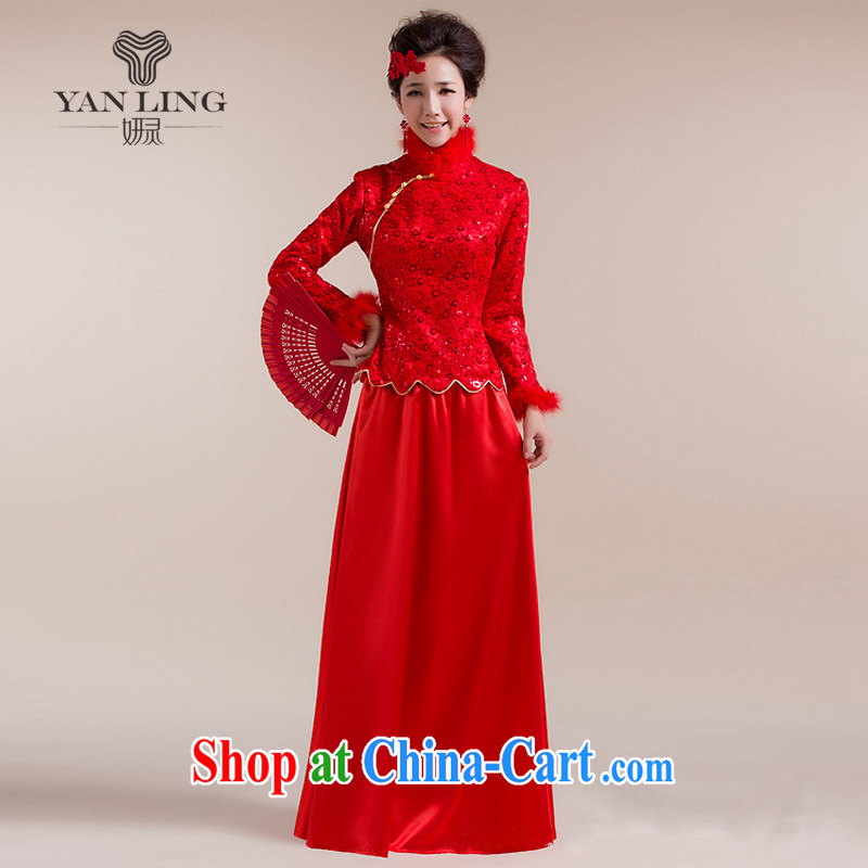 2015 New Section for Gross Gross cuff dot decoration aliasing, with drag and drop, long skirt Chinese wedding dress red XXL