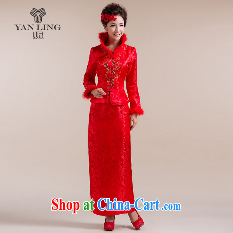 2015 new high-collar scarf traditional coin has eschewed the long skirt Chinese wedding dress red L