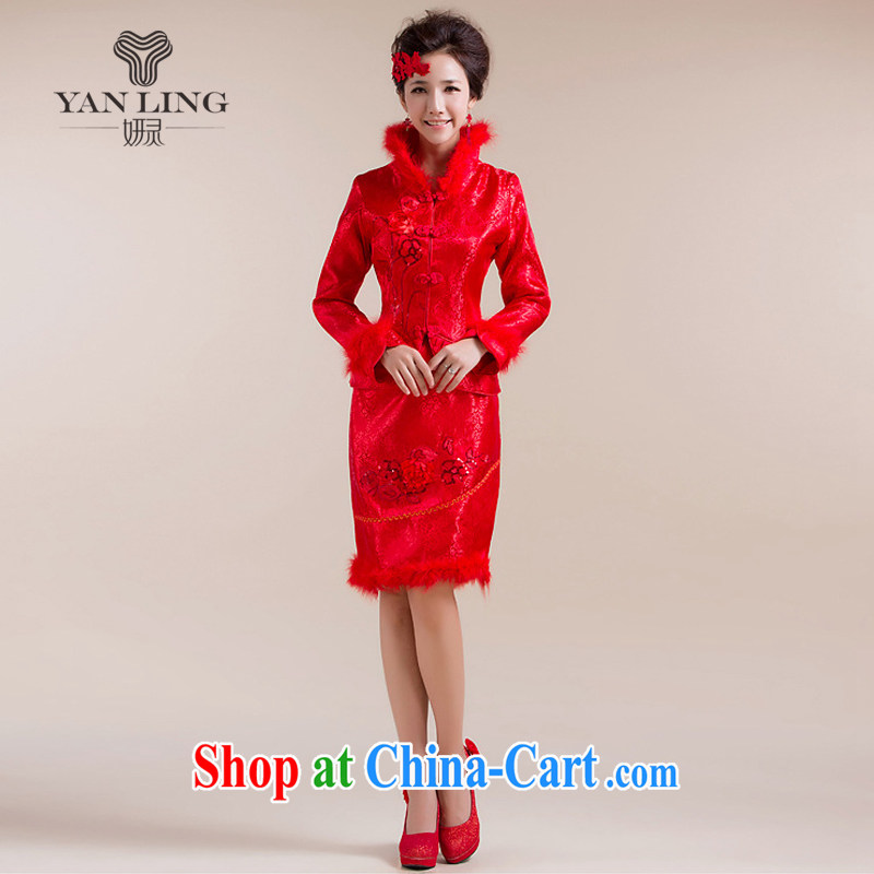 2015 new winter outfit New toast wedding dresses winter cotton robes feather hair collar red L