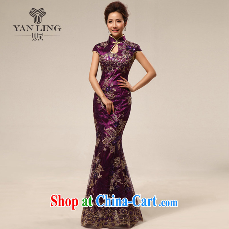 2015 retro marriage ceremonies improved cheongsam hospitality service ceremonial dress cheongsam dress summer 67 stylish purple L