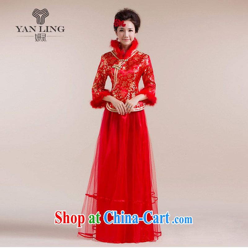 2015 New Section for Gross Gross cuff gauze long skirt with gold floral decorations Chinese wedding dress red S