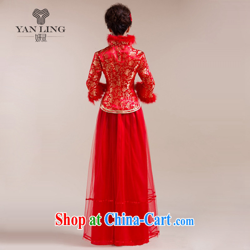 2015 New Section for Gross Gross cuff gauze long skirt with gold floral decorations Chinese wedding dress red S, her spirit, and shopping on the Internet