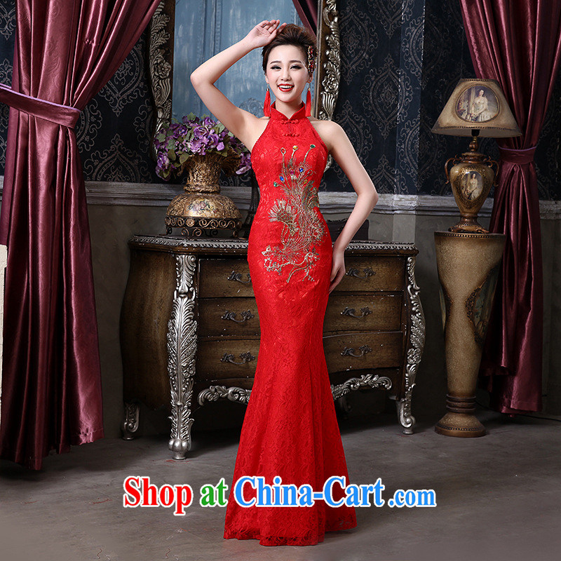 2015 bridal wedding toast service is also exposed back lace Phoenix crowsfoot cheongsam wedding bridal replacing QP - 136 red M
