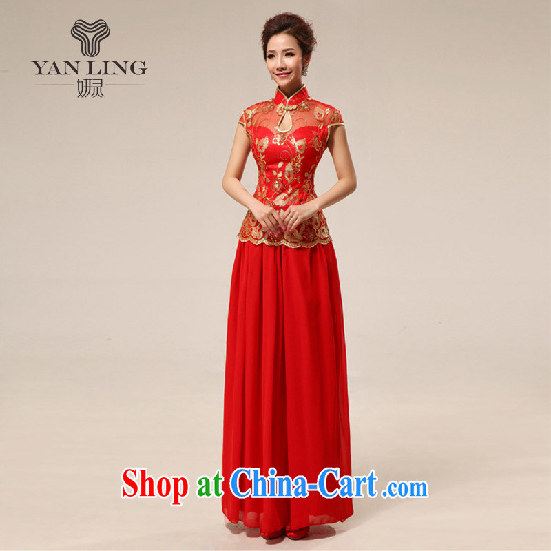 2015 qipao marriages retro lace improved, Long Red transparent lace sexy outfit 68 red XL