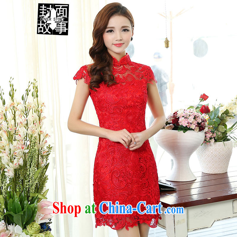 Cover Story 2015 new dress lace dresses bridal dresses with bows bridal clothing dresses red L