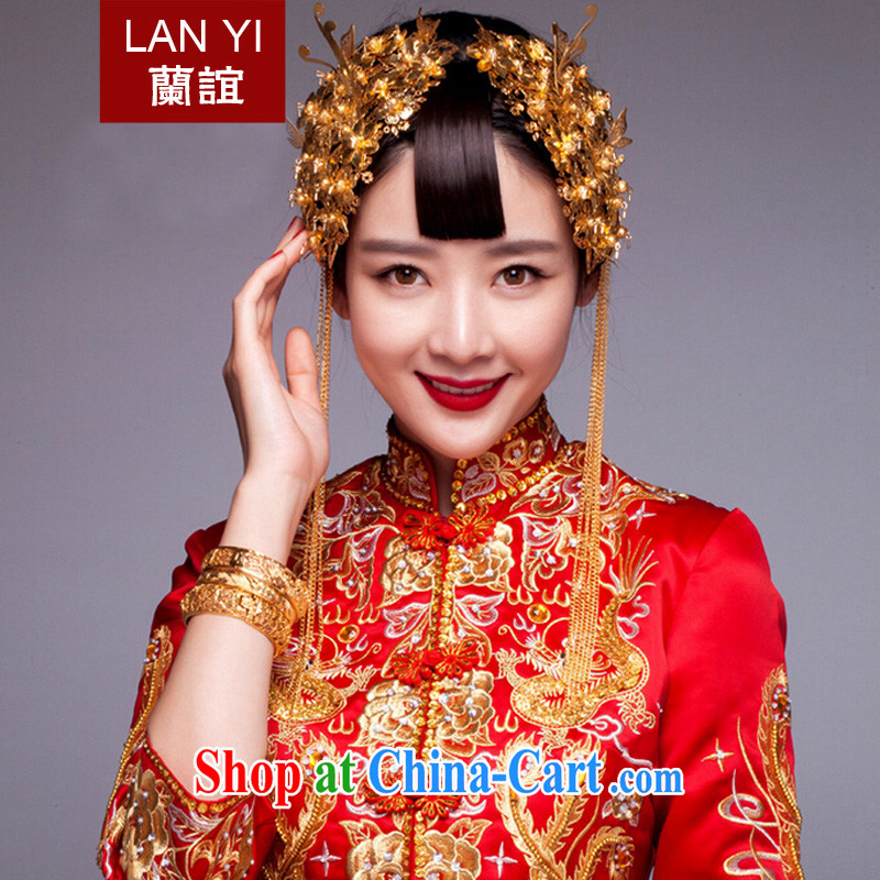 Friends, ancient head-dress bridal costumes and accessories 2 piece-su Wo service use phoenix with classical cheongsam dress head-dress, the earrings