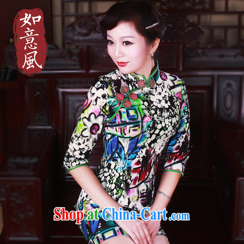 Ruyi style in a new, spring 2015 the cheongsam dress in modern day-cuff antique cheongsam dress suit 5040 XXL