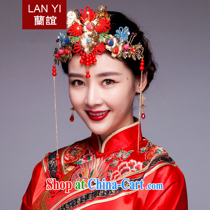 Friends, bride's ancient and Chinese-trim red dragon costumes and hair accessories Su-wo service classic cheongsam dress and ornaments, the earrings