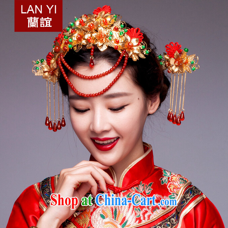 Friends, bride's ancient and Chinese-trim red dragon costumes and hair accessories Su-wo service classic cheongsam dress head-dress costumes and ornaments