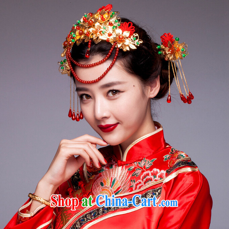 (Quakers, bride's ancient and Chinese-trim red dragon costumes and hair accessories show groups serving classic cheongsam dress head-dress costumes and accessories, and friends (LANYI), shopping on the Internet