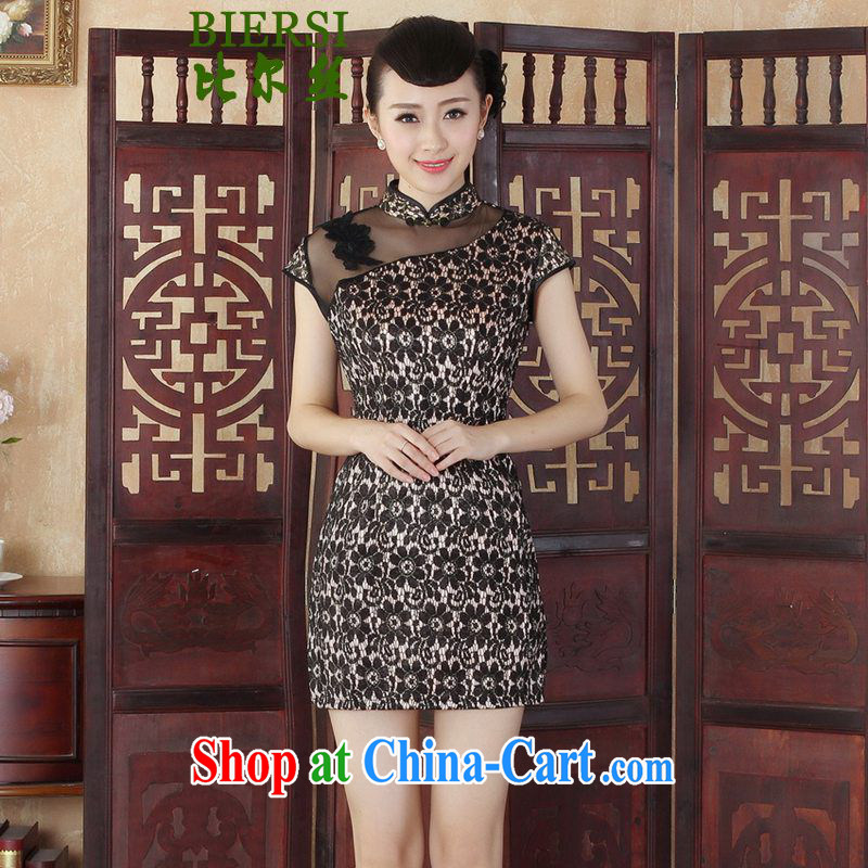 Bill's new Lady Jane, stylish and improved Chinese qipao, for cultivating lace short cheongsam dress as figure 2 XL