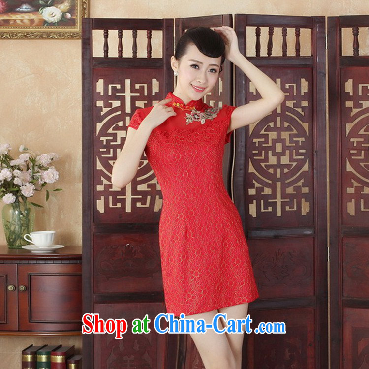 Bill, new Chinese qipao Lady Jane, stylish and refined beauty lace short cheongsam dress yellow 2XL pictures, price, brand platters! Elections are good character, the national distribution, so why buy now enjoy more preferential! Health