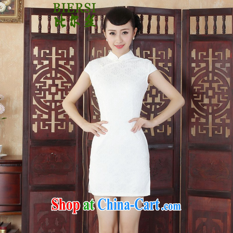Bill's new improved Chinese qipao Lady Jane, cultivating lace short cheongsam dress white S