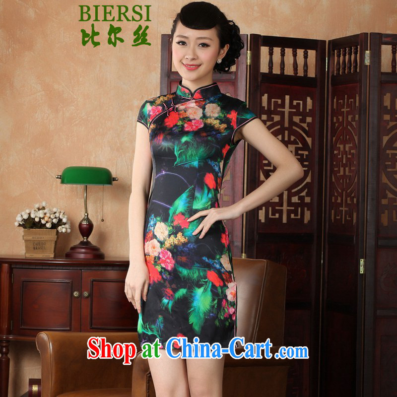 Carl Bildt, new antique Chinese qipao, for poster beauty short, short-sleeved cheongsam dress - A black bottom 2 XL