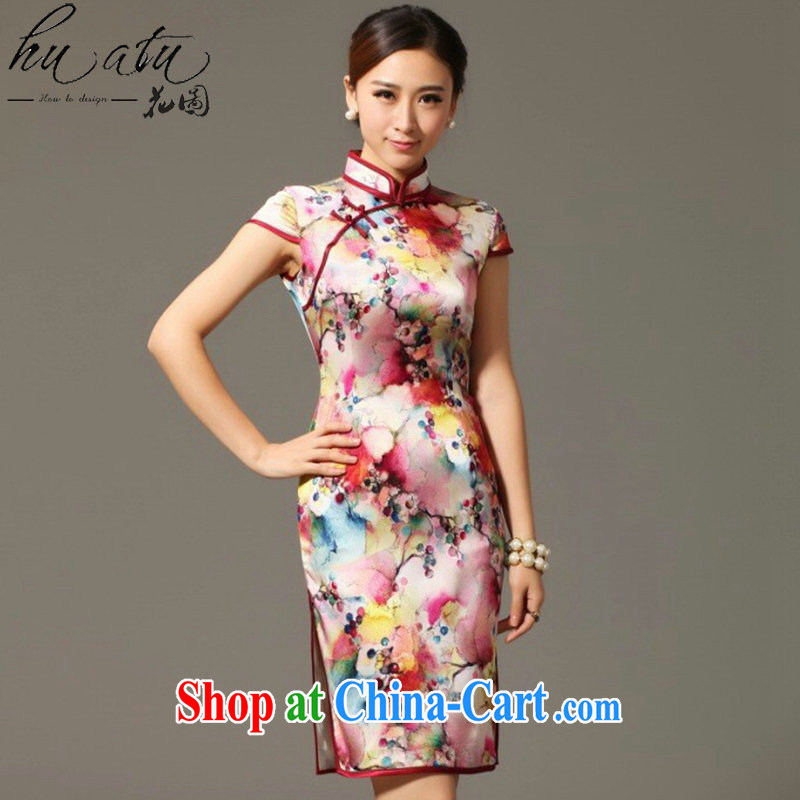 spend the summer, cheongsam dress Chinese Chinese, dos Santos for Silk Cheongsam elegant and noble grape flower Silk Cheongsam dress shown in Figure 3XL