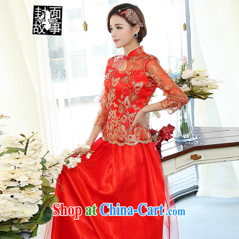 2015 New China wind antique dresses brides with bridal tea dress two-piece wedding dress larger wedding dress red XXXL