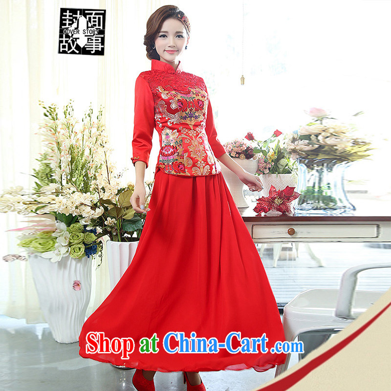 Cover Story 2014 New Classic only US-China wind two-piece larger dresses brides with bridal tea dress red XXXL