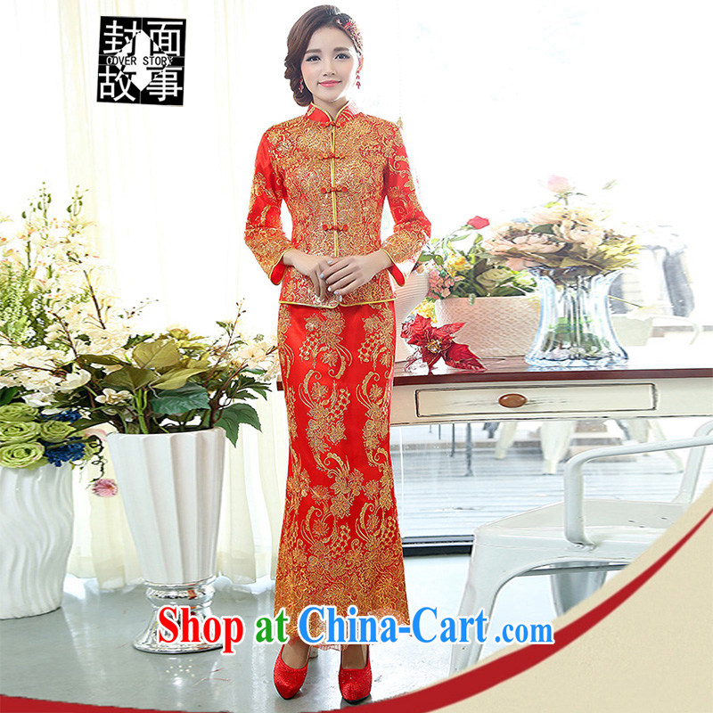Cover Story 2015 new land-ho Kim ornate gold embroidery larger dresses brides with toast and tea dress wedding two-piece dress with red XXXL