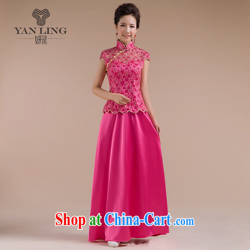 Chinese wedding dresses sexy wedding dresses improved bride toast serving retro wedding dresses stylish QP - 111 pink S