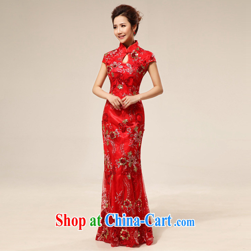 New bridal wedding dresses skirt summer stylish improved lace retro red bows dresses 64 red L
