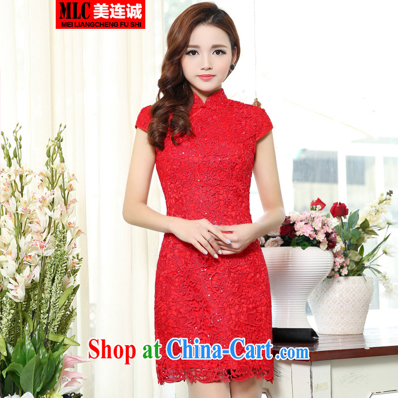Even the US and 2015 new toast Service Bridal wedding dress improved retro embroidery blossoms, short, sexy style cheongsam red XXXL
