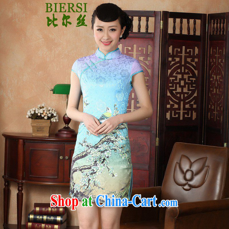 Bill's new retro Ethnic Wind Chinese qipao, for a tight Classic tray for cultivating short cheongsam dress LGD/D 0225 # -A XL sky