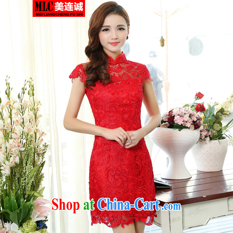 and the United States and even 2015 new sexy back exposed short lace cheongsam dress Chinese red bride toast wedding dress red XXXL