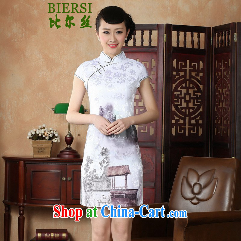 Bill's new antique Chinese qipao, for a tight Classic tray port cultivating painting short cheongsam dress shown in Figure 2 XL
