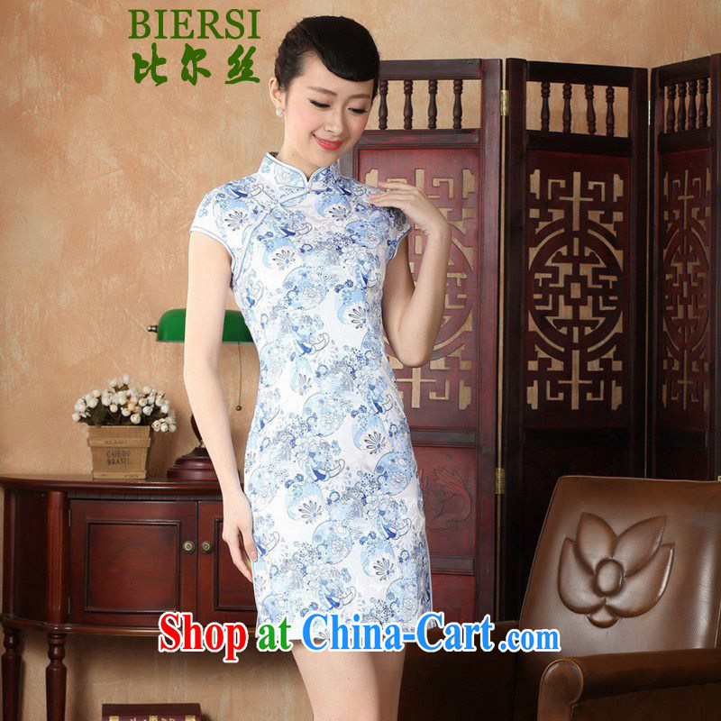 Bill's new retro improved Chinese qipao, for a tight floral beauty short, short-sleeved dresses skirts - A blue 2 XL
