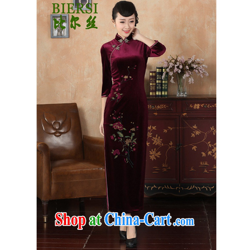 Bill's new retro improved Chinese qipao-stretch the wool beauty 7 sub-cuff cheongsam dress wine red 3 XL