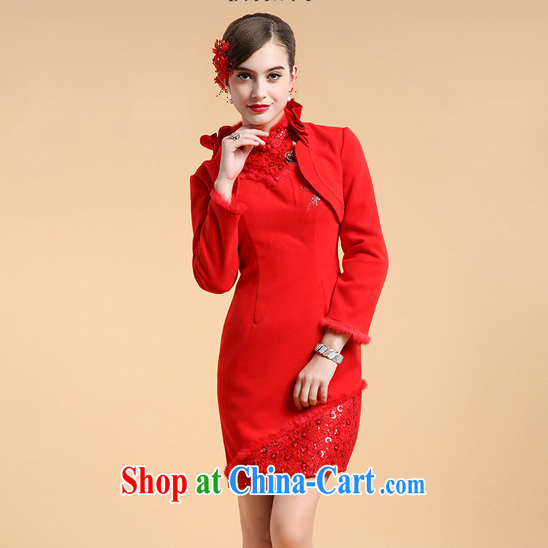 A property, 2015 new minimalist cheongsam dress two-piece Cape long-sleeved winter marriage short dress uniform toast XL