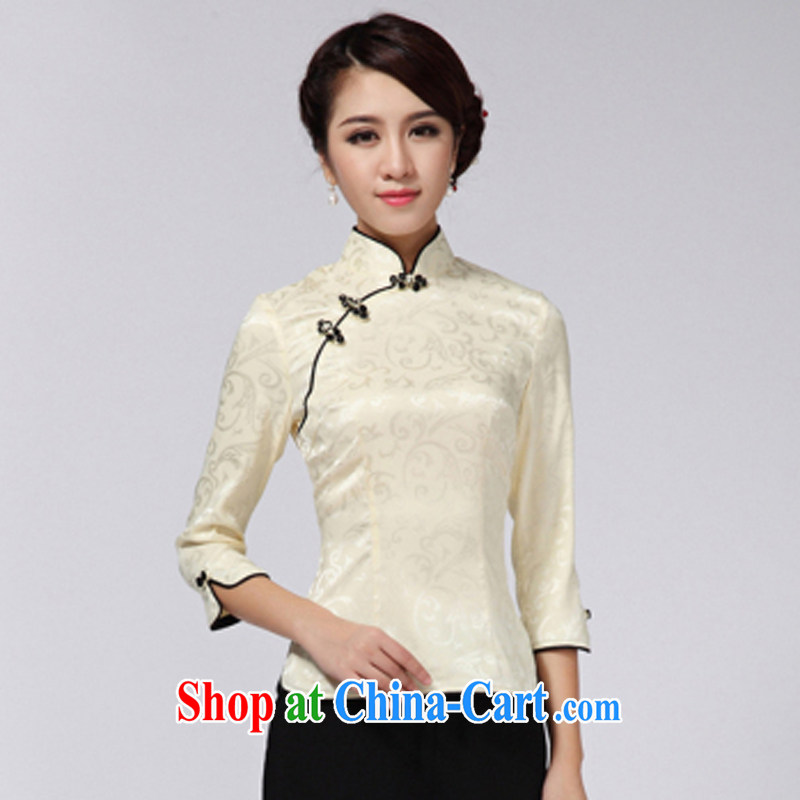 A property, 2015 new Chinese Tang 7 the cuff and Stylish retro improved China's Ethnic Wind Jacket female yellow XXL