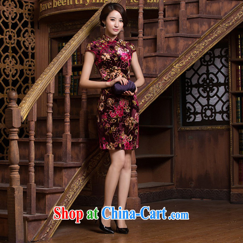 A Chinese qipao improved stylish new 2015 spring sexy beauty daily short-sleeved silk graphics thin short cheongsam dress M