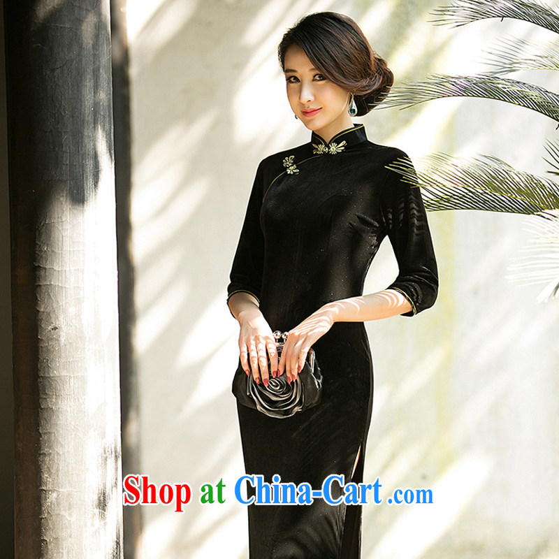 A property, 2015 spring new long cheongsam high on the truck sexy female daily improved stylish dress show 7 sub-cuff velvet cheongsam dress black M
