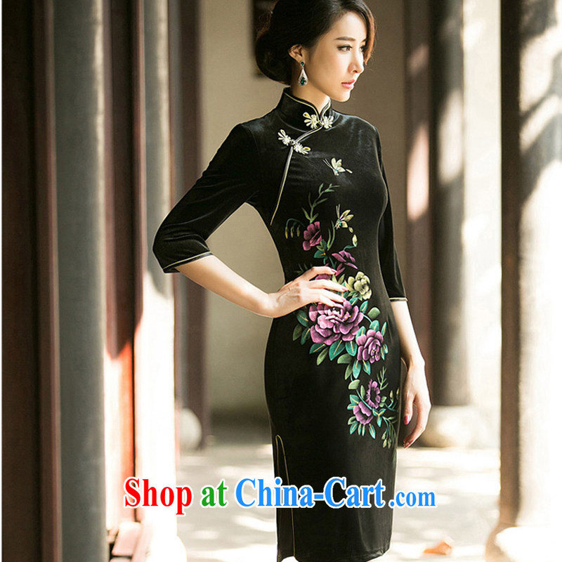A Chinese Spring 2015 the new high-end embroidered cheongsam improved Stylish retro daily video thin elegant velour cheongsam dress black M