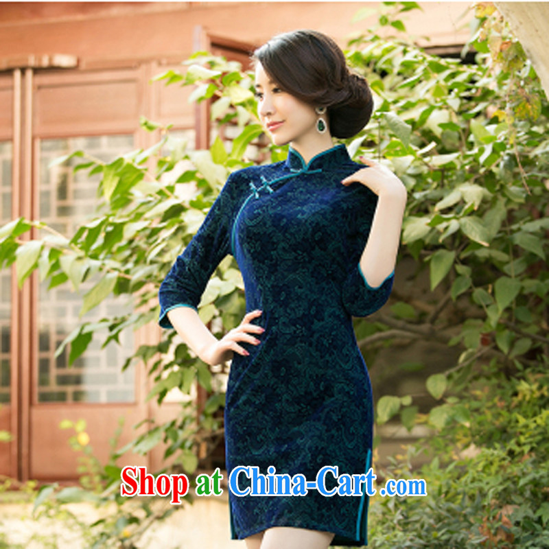 Property is property, 2015 New National wind girls with the velvet cheongsam beauty skirt stylish improved retro short cheongsam army green XXL
