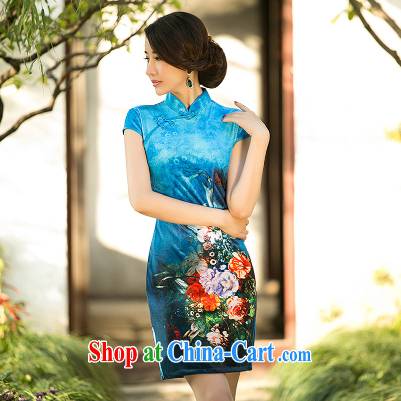 A property, 2015 new gold velour cheongsam dress dresses spring improved stylish short-sleeve retro style women dresses blue M
