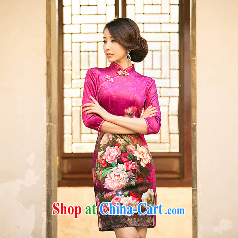 Property is property, new Ethnic Wind 2015 new female gold velour Sau San cheongsam dress stylish improved retro short cheongsam M