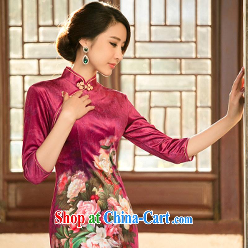 A property, new Ethnic Wind 2015 new female gold velour cheongsam beauty skirt stylish improved retro short cheongsam M, property, language (wuyouwuyu), shopping on the Internet