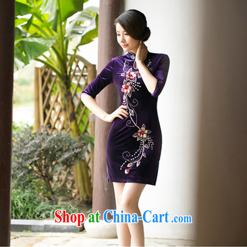 A property, new style 2015 spring loaded pin Pearl improved cheongsam Stylish retro Daily Beauty in elegant cuff wool dresses purple XXL