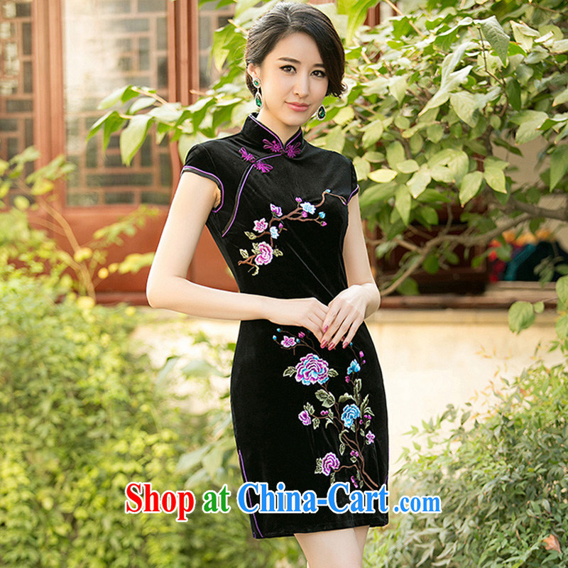 A Chinese Spring 2015 new Stylish retro color embroidered cheongsam Daily Beauty style wool short cheongsam dress black XXL