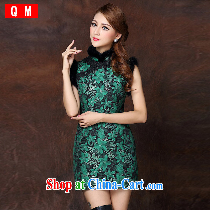 light at the girls improved stylish spell gross sleeveless quilted is not the Lao short cheongsam XWGQF 141,013 dark XXL