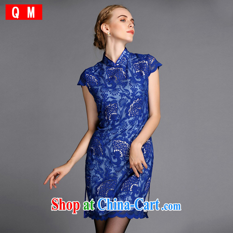 Shallow end, high-end Openwork embroidery improved fashion cheongsam dress beauty XWG blue XXXL