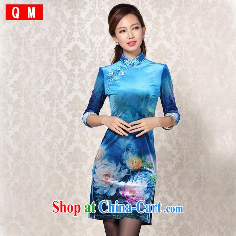 Shallow end improved Stylish retro wool stamp duty cuff in daily short cheongsam XWGQF 13 - 25 blue XXXL