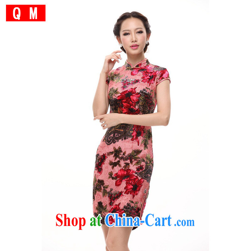 Shallow end Silk Cheongsam wedding retro bows dress sauna silk improved stylish autumn dresses skirts female XWG pink M